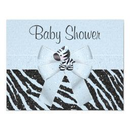 Blue Zebra, Printed Bow & Glitter Look Baby Shower