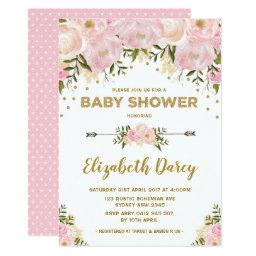 Blush Gold Floral Baby Shower Cottage Chic Invitation