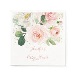 Blush | Gold Floral Baby Shower Napkins