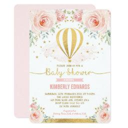 Blush Gold Floral Hot Air Balloon Girl Baby Shower Invitation