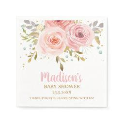 Blush Pink Floral Baby Shower Birthday Napkins