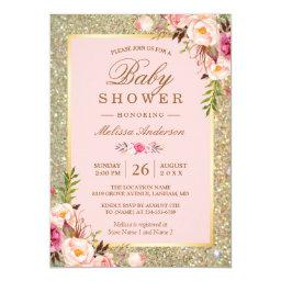 Blush Pink Floral Gold Sparkles Baby Shower