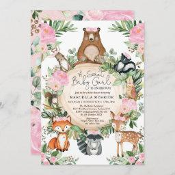 Blush Pink Floral Woodland Forest Girl Baby Shower Invitation