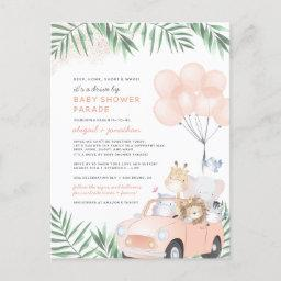 Blush Pink & Gold Cute Safari Drive By Baby Shower Invitation Postinvitations
