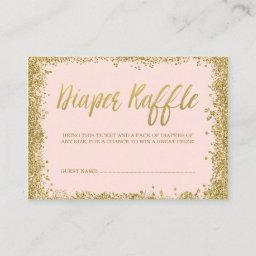 Blush Pink Gold Glitter Diaper Raffle Ticket Enclosure