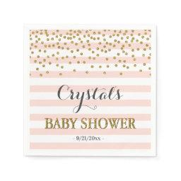 Blush Pink Gold Stripe Confetti Baby Girl Shower Napkin