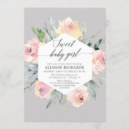 Blush Pink Grey Floral Watercolor Girl Baby Shower Invitation