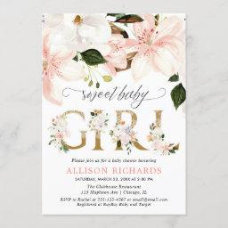 Blush Pink Lace Burlap Floral Girl Baby Shower Invitation