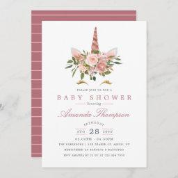 Blush Pink & Rose Gold Floral Unicorn Baby Shower Invitation