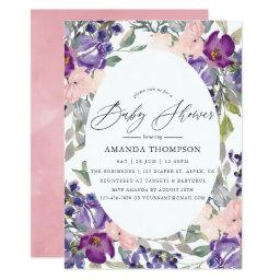 Blush Pink, Violet And Plum Floral Baby Shower