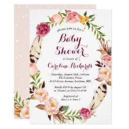 Bohemian Feather Boho Floral Wreath Baby Shower