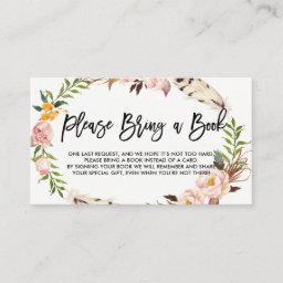 Bohemian Feathers And Flowers Please Bring A Book Enclosure Card