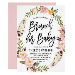 Bohemian Feathers Floral Wreath Baby Shower Brunch