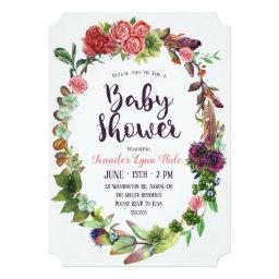 Bohemian Wreath Baby Shower Invitation