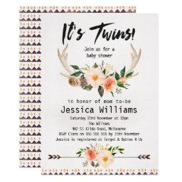 Boho Antlers Twins Baby Shower