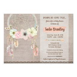 Boho Baby Shower Invitation, Dreamcatcher Rustic