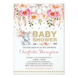 Boho Baby Shower Invitations Pink Gold Elephant