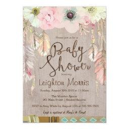 Boho Baby Shower Invitation, Tribal Feather Rustic