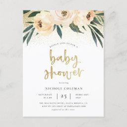 Boho Blush Pink & Brushed Gold Script Baby Shower Invitation Postinvitations