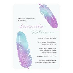Boho Bohemian Feather Purple Baby Shower