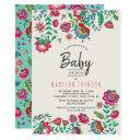 Boho Chic | Blue | Folk Flowers | Baby Shower Invitation