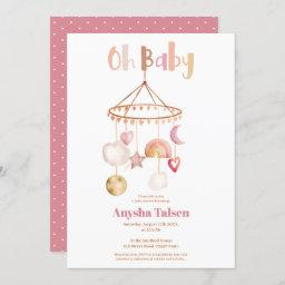 Boho Cute Mobile Rainbow Watercolor Oh Baby Shower Invitation