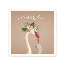 Boho Flamingo Mama + Chick Baby Shower Napkins
