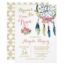 Boho Floral Dream Catcher Pink & Gold Baby Shower Invitation
