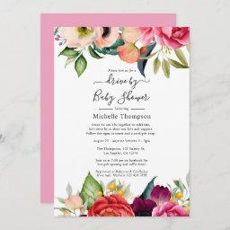 Boho Floral Drive By Baby Or Baby Shower Invitation