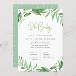 Boho Leaves Baby Shower By Mail Invitation