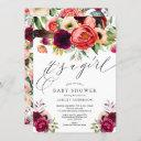 Boho Pink Purple Floral It's A Girl Baby Shower Invitation