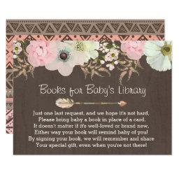 Boho Rustic Floral Feather Baby's Library Insert 2