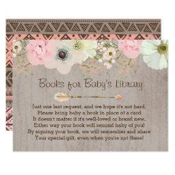 Boho Rustic Floral Feather Baby's Library Insert