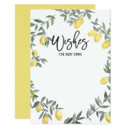 Boho Watercolor Lemon Wreath Baby Shower Wishes