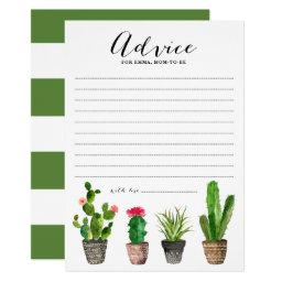 Boho Watercolor Succulents Advice for Mom to Be