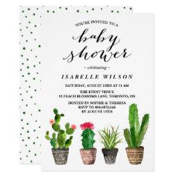 Boho Watercolor Succulents Baby Shower