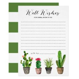Boho Watercolor Succulents Well Wishes Baby Shower