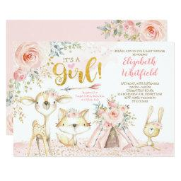 Boho Woodland Forest Pink Gold Floral Baby Shower Invitation
