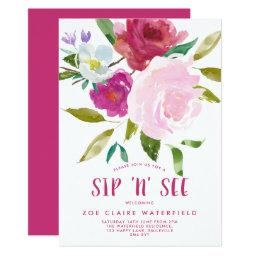 Bold Watercolor Floral Sip 'n' See Invitations