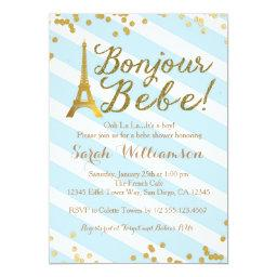 Bonjour Bebe Boy French Baby Shower Invitation