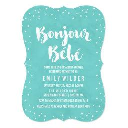 Bonjour Bebe Watercolor Baby Shower Invitation