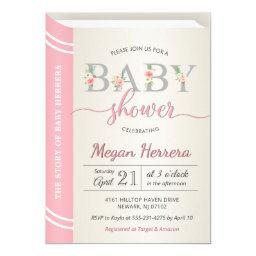 Book Library Storybook Girl Baby Shower Chic Pink Invitation