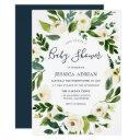 Botanical Floral Wreath Baby Shower Invitation