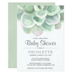 Botanical Sage Green Succulent Baby Shower Invitation
