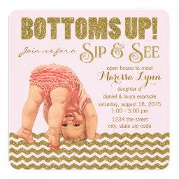Bottoms Up Girls Sip And See Invitations