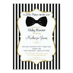 Bow Tie Boy Baby Shower Invitation Black Gold