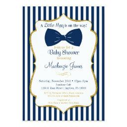 Bow Tie Boy Baby Shower  Navy Blue Gold