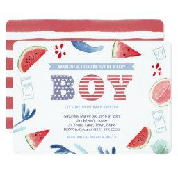 Boy America Jack And Jill Baby Shower Invitation