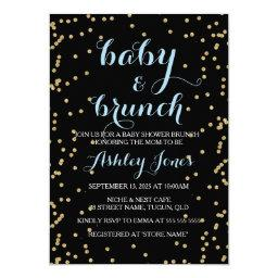 Boy Baby Shower & Brunch Gold Glitter Black