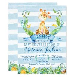 Boy Baby Shower Invitation, Giraffe Baby Shower